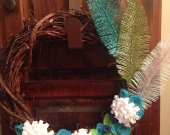 Fall Sale- Grapevine Wreath with Felt Flowers and Glitter Feathers