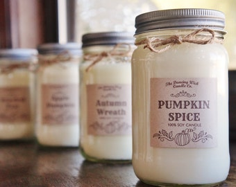 Fall Candle / Pure Soy / Autumn Candle / Fall Decor / Container Candle//Mason Jar Candle//16 oz. Candle/ 8 oz. Candle/Hand Poured/ Dye Free
