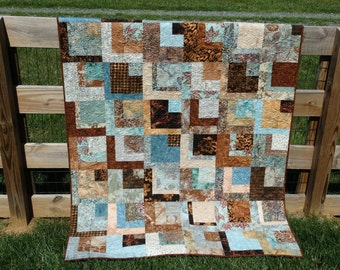Mocha and Teal Batik Lap Quilt
