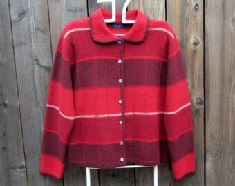 Womens Vintage Wool Sweater Jacket Brick Red Stripe Cardigan Collared Sweater by Karen Scott size M