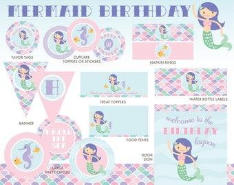 Mermaid Party Package, INSTANT DOWNLOAD, Mermaid Birthday