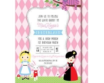 Alice in Onederland Invitation, Alice in Wonderland Birthday Invitations, Girls First Birthday Invitation, Printable or Printed Invite