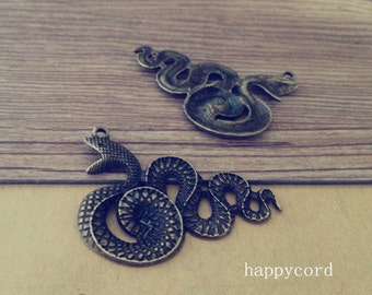 8pcs of Antique bronze snake Pendant Charms 28mmx39mm