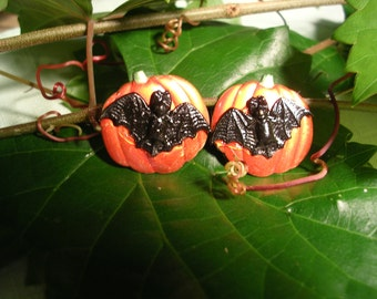 Halloween Bat and Pumpkin Earrings . Hand Painted