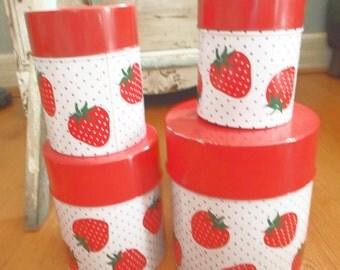 Vintage Canister Set, Retro Kitchen Storage, Strawberry Decor, Kitsch Kitchen  Decor, 4