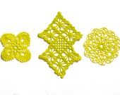 3 Bright yellow hand dyed Crochet Doily Vintage doilies