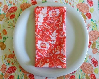 Cotton Napkins (4 or 6) in Coral Orange and White, Flower Napkins, Large Dinner Napkins, Housewarming Gift, Reminisce Wonderment Teaberry