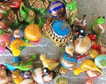 Antique venetian foil bead birds leaves beads pair 1940 necklaces Studio clean out!