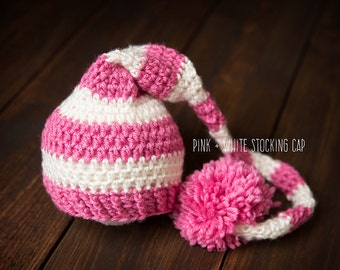 Knit Newborn Baby stocking cap hat pink and cream ready to ship Photography Prop RTS