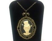 Steampunk Sally Cameo Necklace, Bronze Cameo setting