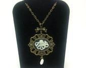 Squid Necklace, Steampunk Necklace, Goth Necklace, Cameo Necklace, Nautical Necklace, Silver Necklace