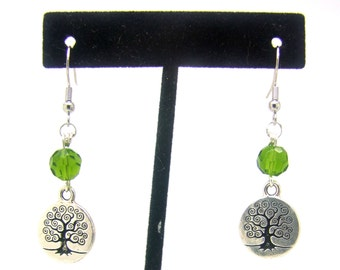 Tree of Life Earrings, Dangle Earrings, Beaded Earrings, Silver Earrings, Green Earrings, Spiritual Earrings, Wiccan Earrings, Earth Earring
