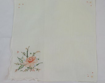 Pale Yellow Handkerchief with Peach Flower - Vintage
