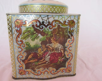 vintage Daher tea,made in England , cookie tin, floral  ,canister,with lid,made in England, collectable , shabby chic storage,sewing storage