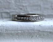 Amazing Antique Platinum Pave Diamond Full Eternity Wedding Band - 1.44ct.