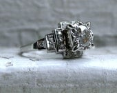 Vintage Art Deco Platinum Diamond Engagement Ring - 1.17ct.