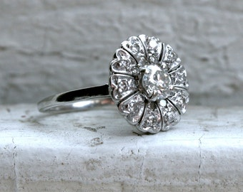 Pretty Antique Platinum Diamond Cluster Ring Engagement Ring - 1.00ct.