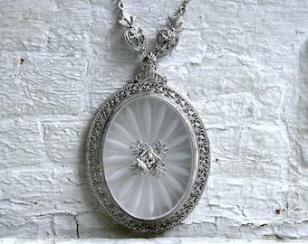 Large Vintage Oval 14K White Gold Camphor Diamond Necklace.