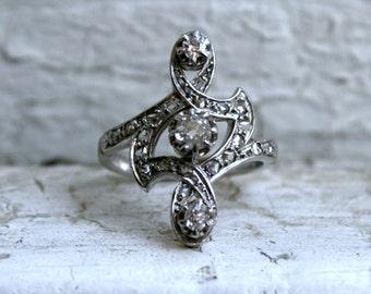 RESERVED - Unique Antique 18K Yellow Gold/ Platinum Diamond Ring Engagement Ring - 0.50ct.