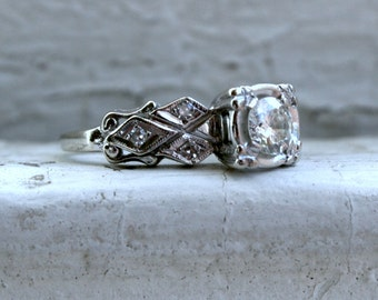 Great Vintage 14K White Gold Diamond Engagement Ring - 0.52ct.