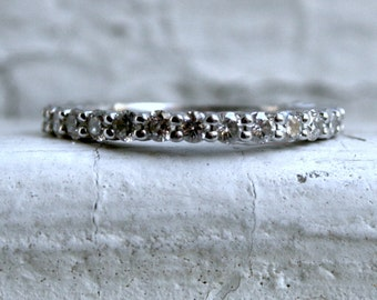 RESERVED - Sparkly Vintage 18K White Gold Diamond Shared Prong Set Wedding Band - 0.63ct.