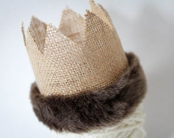 Fur Burlap Crown, Photography Prop, Crown, Boy Crown, Brown Fur