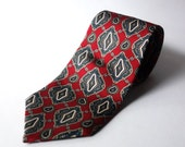 Vintage Christian Dior Monsieur Silk Tie Men's Red Blue