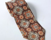 Vintage Silk Tie Men Women Orange Brown