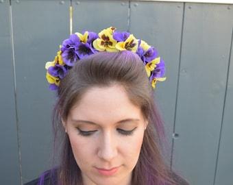 Pansy Headband - Purple and Yellow