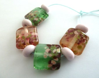 handmade pink and green blossom lampwork glass beads, UK set