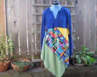 Funky Artsy Asymmetrical Tunic Dress/ Upcycled Lagenlook Eco Dress/ Hi Lo Womens Dress S/M