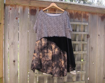 Tie Dye Velvet Boho Tunic Dress Asymmetrical/ Flirty Upcycled Eco Dress/ Lagenlook Handkerchief Hem Womens Shirt 3X Plus Size