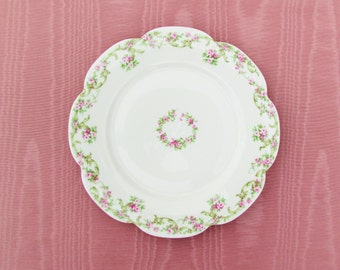 Antique Limoges china plate with pink roses, Haviland Limoges dinner plate