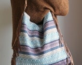 NEW slouchy fringed bag, medium size, leather and textured tapestry Jacquard Woven Fabric, braided leather shoulder strap. Ready to ship
