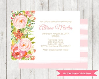 Watercolor Flower Baby Shower Invitation | Boho Baby Shower Invite | Baby Sprinkle Printable