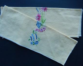 Embroidered Tea Towels - Vintage Tea Towels - Yellow Tea Towels - Hand Embroidered Linen Towels - Shabby Cottage Chic Decor