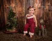 6-12 month romper, Christmas romper, 12-18 month baby photo prop, little sitter photography outfit, red upcycled romper, olive green romper