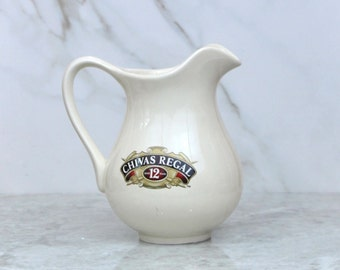 Vintage Chivas Regal Pitcher, Scotch Whiskey, Ceramic Pitcher, Water Pitcher, Ewer, Barware, Scotch, Chivas Brothers, Whiskey Ewer