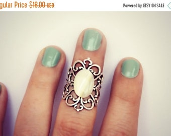 FALL SALE pearl knuckle ring, midi ring, above the knuckle ring, pearl ring, silver ring, unique ring