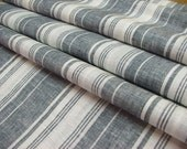 Dark Sage French Ticking Linen Fabric--Flax Linen Fabric--DIY projects