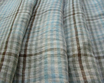 Checked Pattern Pure Linen Fabric, Sage and Brown colors, soft vintage look linen fabric, DIY projects