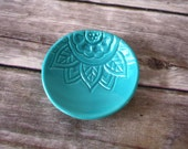 Ring Holder - Handmade boho ring dish, gift under 10.  Turquoise glaze, patterned ring dish.  Handmade from scratch, free gift wrap