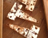 Set of 3 rustic shabby chic barn door hinges, farm salvage