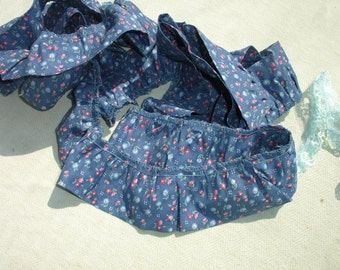 Blue Floral Fabric Trim with Ruffled Edge - 3 Yards
