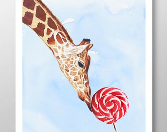 The Giraffe loves sweet! Mixed media Decorative art Animal painting drawing illustration portrait  print POSTER 8x10
