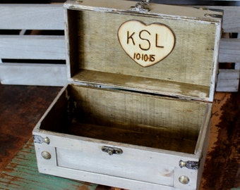 Keepsake Box Memory Box Love Letters Time Capsule Jewelry Box Treasure Chest Trunk (SMALL)