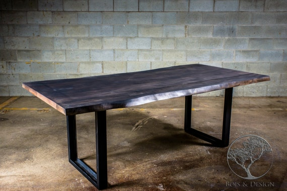 Live Edge Grey Stained Maple Dining Table
