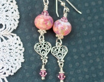 Lampwork Bead Earrings, Lampwork Jewelry, Lampwork Beads, Handmade Peachy Pink Beads, Heart Charm, Sterling Silver Leverback