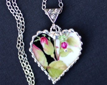 Necklace, Broken China Jewelry, Broken China Necklace, Heart Pendant, Black and Pink Rose Bud China, Sterling Silver, Soldered Jewelry