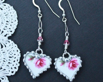 Earrings, Broken China Jewelry, Broken China Earrings, China Hearts, Pink Roses, Sterling Silver, Dangle Earrings, Soldered Jewelry